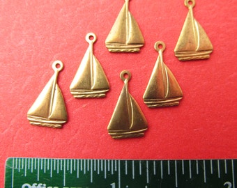 Sailboat charms Vintage Brass Stampings Wholesale Lot sailboat charms 6 pc,