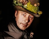 Woodland Top Hat Green and Brown Top Hat Ideal For Faerie Faery Green Man