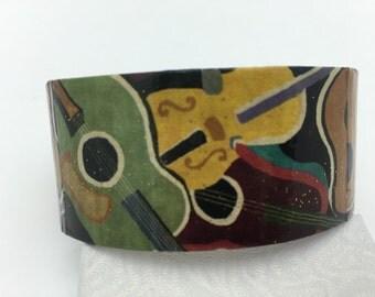 Guitar Bracelet Guitar Cuff Decoupage Cuff Bracelet
