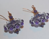 Gorgeous Purple and White Bumpy Lampworked Disc Copper Earrings