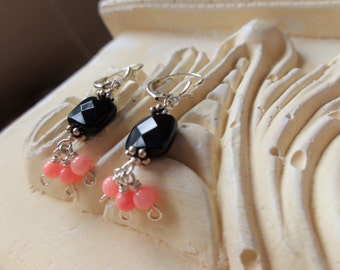 Coral Earrings with Black Onyx, Peach and Black Jewelry