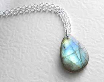 Blue Green Labradorite Necklace, Natural Stone Jewelry, Fiery Flash