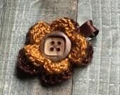 Glitter Brown and Orange Crochet Flower Hair Clip