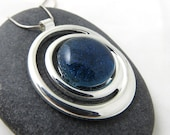 Handcrafted Glass Necklace - Silver and Glass Necklace - Cosmic Swirl - Blue Jean Blue