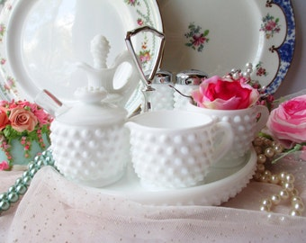 Vintage Fenton Milk Glass Hobnail Condiment Set - Seven Piece