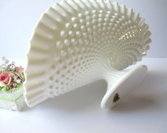 Vintage Fenton Milk Glass Hobnail Banana Bowl - Wedding Decor