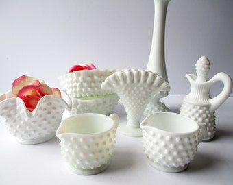 Vintage Fenton Milk Glass Hobnail Party Collection of Eight - Weddings Bridal