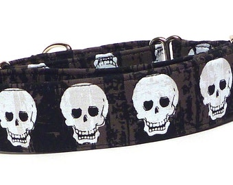 "Halloween Martingale Dog Collar 1.5"" wide with black and white SKULLS Fabric Wrapped Collar"