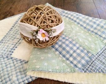 Vintage Strip Patchwork Quilt Top Piece and Headband, Newborn Photography Basket Stuffer, Prop Set
