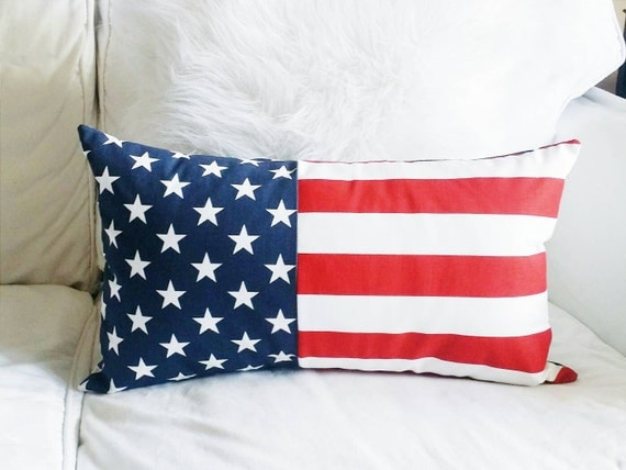 Modern Pillow Covers Etsy : Items similar to Modern Stars and Stripes Lumbar Pillow Cover - Red, White and Blue - 12x20 on Etsy