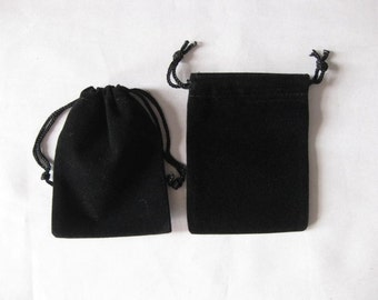 """25 Black 3""""x 4"""" Jewelry Pouches Velvet Gift Bags Packaging Supplies"""