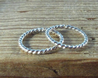 Hoop Earrings Silver Dot Twist Endless - Helix Jewelry, Daith Jewelry, Rook Jewelry, Cartilage Jewelry, Tragus,  Sleeper Hoops, Small Hoop