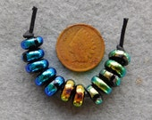 12 Bright Assorted Dichroic Lampwork Mini Spacer Beads handmade by Dee Howl Beads