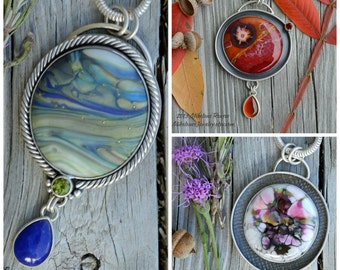 Examples of my Designer Glass Cabochons set in Jewelry. The pictured jewelry is not for sale in this listing!