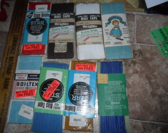 8 Vintage Sewing Trims - Extra Wide Bias - Middy Braid - Seam binding