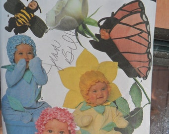 Vintage 1997 Simplicity Toddler Flower, Bee & Butterfly Costume Pattern 1/2 to size 4