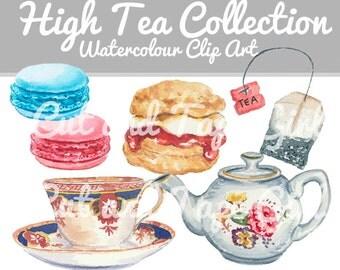 High Tea Watercolor Clip Art - Digital Clipart, Food Clip Art, Tea Pot, Tea Cup Illustration, Digital Download, Food Art