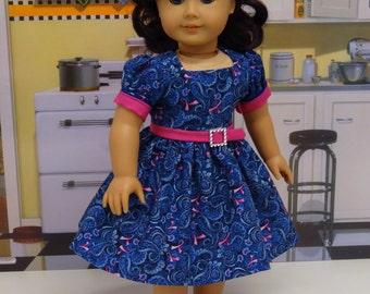 Pink Ribbon Paisley - vintage style dress for American Girl doll
