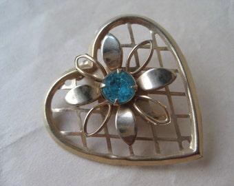Heart Blue Flower Gold Brooch Rhinestone Vintage Pin
