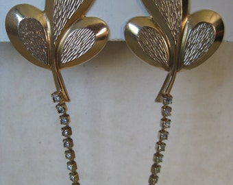 Leaf Texture Rhinestone Gold Sweater Guard Clip Vintage Leaves