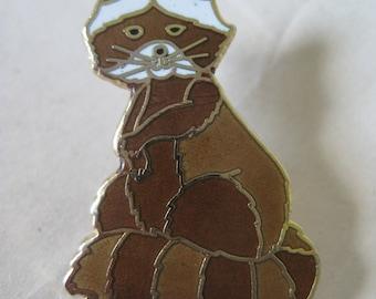 Raccoon Brooch Lapel Pin Tie Tack Brown Gold Vintage Enamel