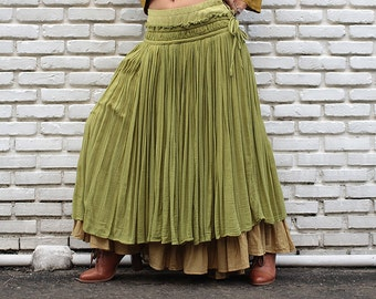Sweet spot...2 layers full maxi skirt...Linen/cotton Green/Mustard  (one size fits S-L)