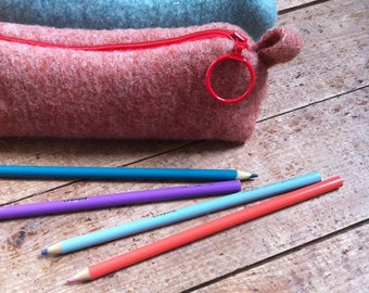 Wool Pencil Case - Cosmetic Carrier - Back to School - Custom Colour