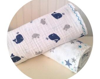 Whale baby blanket - nautical blanket - muslin blanket - reversible blanket - embroidered blanket - stroller blanket - crib blanket