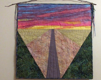 Sunset Fiber Art Quilted Wall Hanging