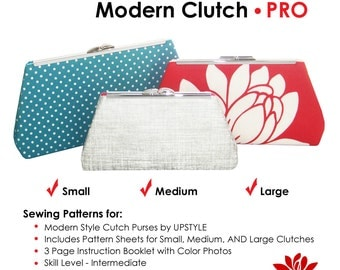 Modern Clutch - PRO Pattern by UPSTYLE - Select Small, Medium, Large OR all 3 Sizes - Free Domestic Shipping