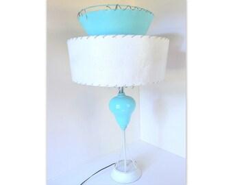 Vintage Aqua Atomic Table Lamp with Shade, Mid Century Home Decor