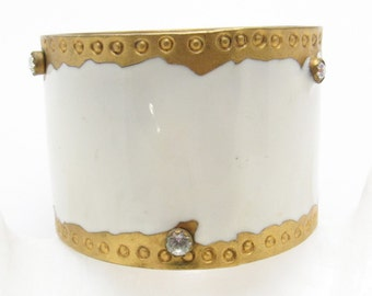 Wide Enamel Rhinestone Bangle Bracelet Two Inches White Jewelry B7407