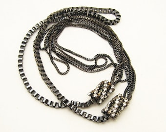 Long Vintage Chain Necklace Multistrand Rhinestone Jewelry N5790