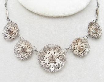 Sterling Filigree Necklace Earrings Sombrero Hat Vintage Jewelry N6923