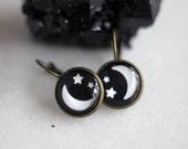 Celestial Moon and Stars Earrings, Under 10, Gift for Her, Stocking Stuffer