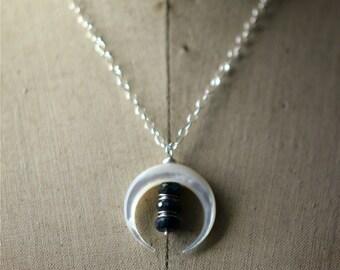 Mother of Pearl Crescent Moon Pendant, Blue Flash Labradorite, Sterling Silver Necklace, Double Horns, Boho Pendant, Bohemian