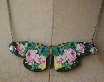 Dark Floral Butterfly Pendant, Green, Black Moth Necklace, Pink, Yellow Flowers