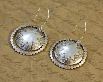 Sterling silver scallop hoop disk earrings, 1 inch, whimsical, hammered, oxidized, domed, rustic, handstamped, textured, beaded