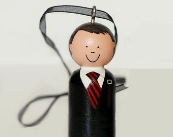 ONE Custom LDS Elder Striped Tie Missionary Ornament Wooden Peg doll