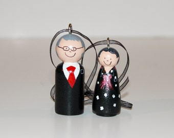 Custom Senior LDS Missionary Couple Ornaments Wooden Peg doll