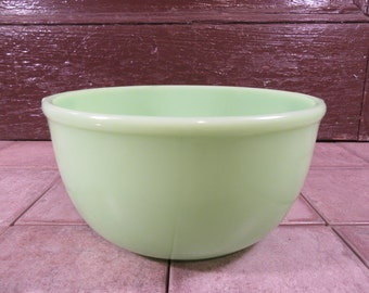 Large vintage Jadeite bowl with tab handles- fine vintage condition, minor wear, solid, collectible and beautiful