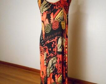 vintage Women's 90's Sleeveless Bright Tribal Rayon Maxi Dress TIE BACK - Marked M