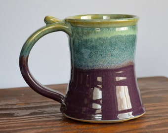 Beer tankard ceramic, coffee mug, stein cup, glazed in purple green, handmade stoneware by hughes pottery