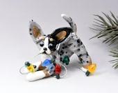 Chihuahua Blue Merle Christmas Ornament Figurine Lights Porcelain