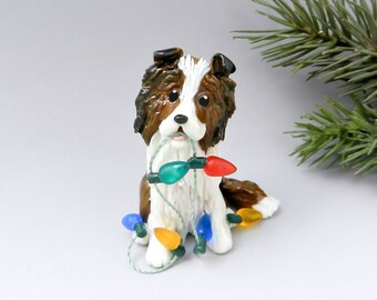 Collie Shetland Sheepdog Christmas Ornament Sable Lights Porcelain