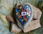 Valentine Love Mosaic Garden Stone, Rock, Glitter Stained Glass