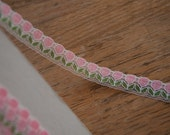 Pink Floral Lace - 3 yards Vintage Fabric Trim 70s New Old Stock Doll Clothes