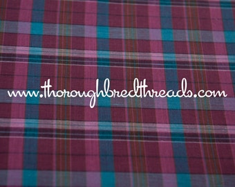 Mad About Plaid - Vintage Fabric Multi-Colored Checked Burgundy Raspberry