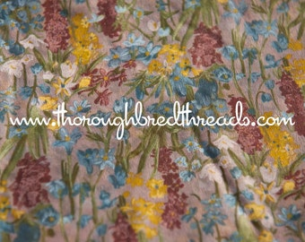 All Over Pretty Wildflowers - Vintage Fabric New Old Stock Apparel Sheer
