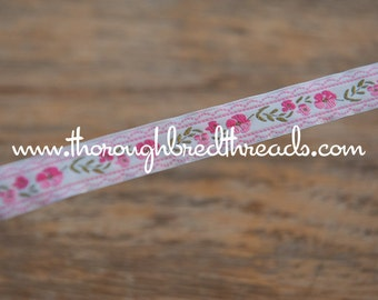 3 yards Pink Floral - Vintage Fabric Trim Embroidered Ribbon New Old Stock Daisies Juvenile